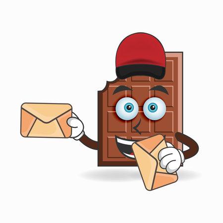 The Chocolate mascot character becomes a mail deliverer. vector illustration Ilustração Vetorial