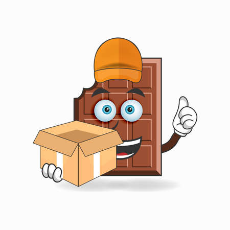 The Chocolate mascot character is a delivery person. vector illustration