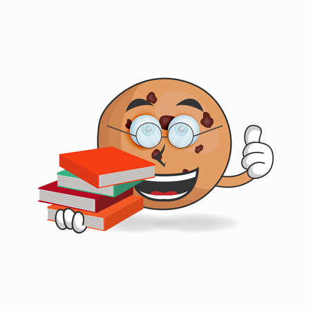 The Cookies mascot character becomes a librarian. vector illustration