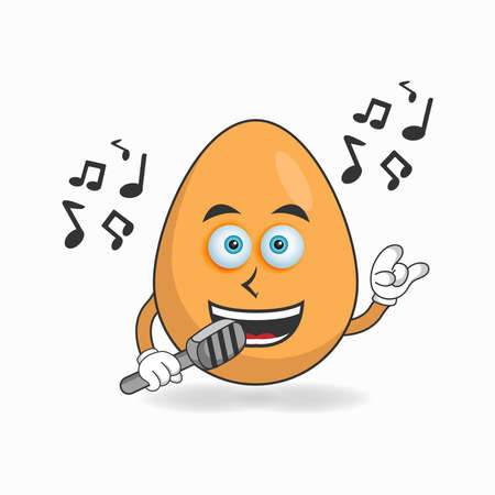 The Egg mascot character is singing. vector illustration