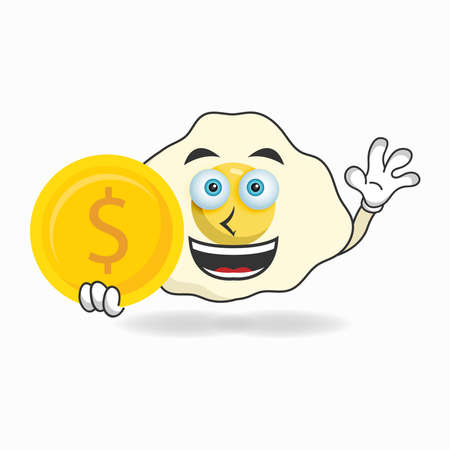 Egg mascot character holding coins. vector illustration