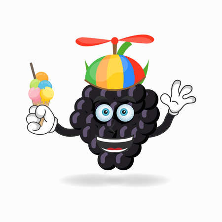 Grape mascot character with Grape and colorful hat. vector illustration