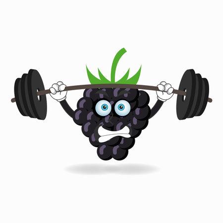 Grape mascot character with fitness equipment. vector illustration Çizim