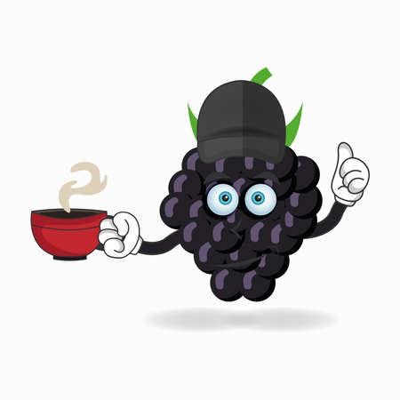 Grape mascot character holding a hot cup of coffee. vector illustration