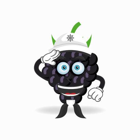 The Grape mascot character becomes a sailor. vector illustration