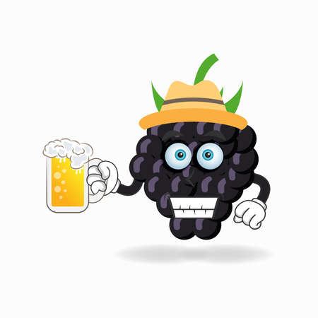 The Grape mascot character is holding a glass filled with a drink. vector illustration Çizim