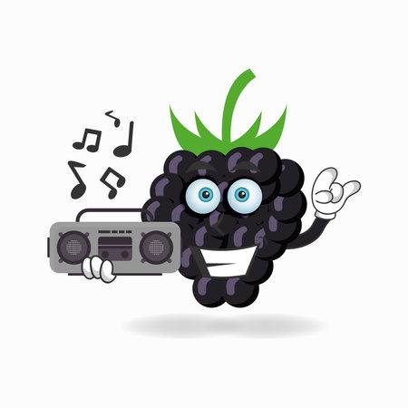 Grape mascot character holding a radio. vector illustration