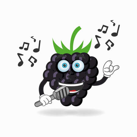 The Grape mascot character is singing. vector illustration