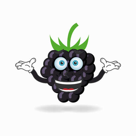 Grape mascot character with a confused expression. vector illustration