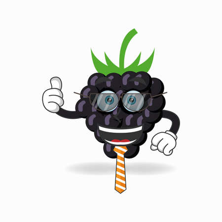 The Grape mascot character becomes a businessman. vector illustration