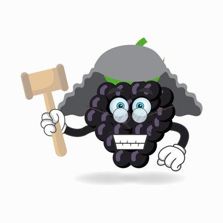 The Grape mascot character becomes a judge. vector illustration