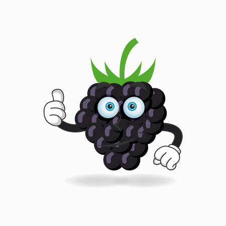 Grape mascot character with thumbs up bring. vector illustration Çizim