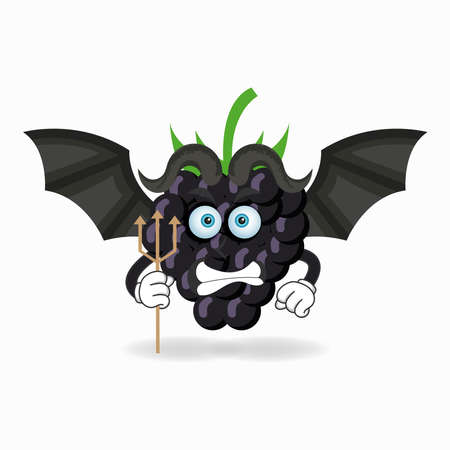 The Grape mascot character becomes a devil. vector illustration
