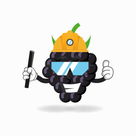 The Grape mascot character becomes a mining officer. vector illustration