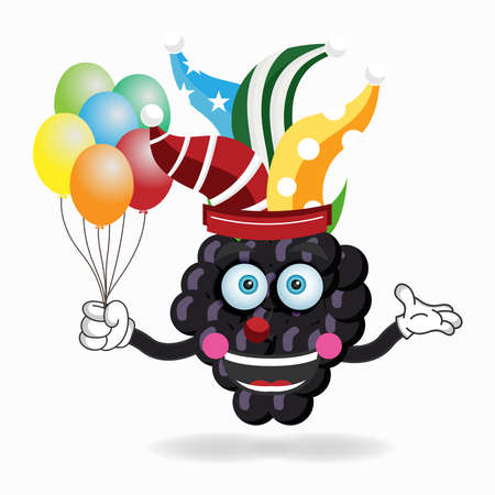 The Grape mascot character becomes a clown. vector illustration Çizim