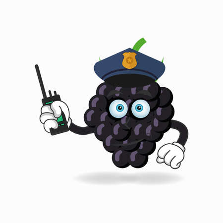 The Grape mascot character becomes a policeman. vector illustration Çizim