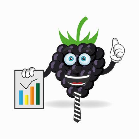 Grape mascot character presentation. vector illustration Çizim