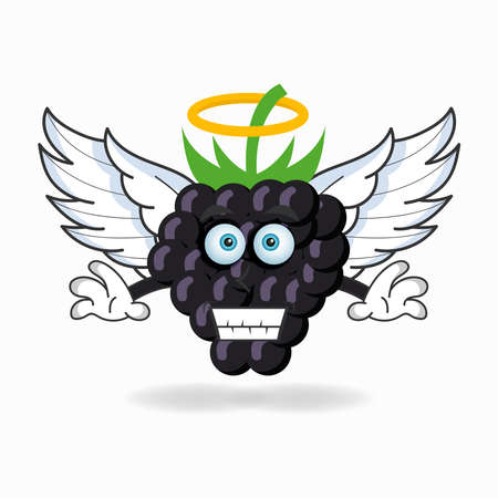 Grape mascot character dressed like an angel. vector illustration