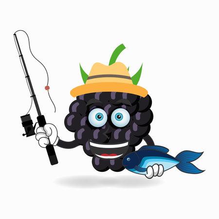 The Grape mascot character is fishing. vector illustration Çizim