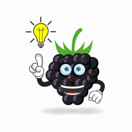 The Grape mascot character with an expression gets an idea. vector illustration