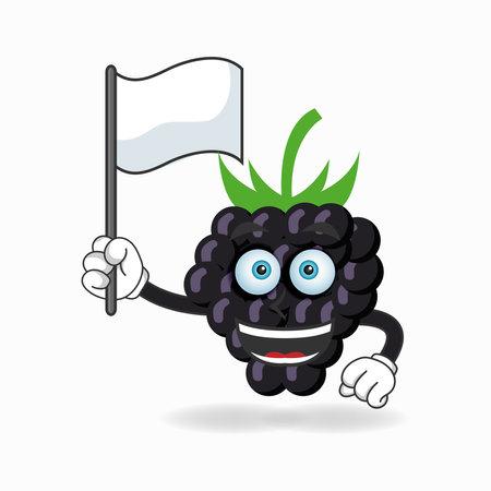 Grape mascot character holding a white flag. vector illustration Çizim