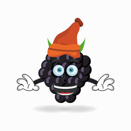 The Grape mascot character wearing a hat. vector illustration