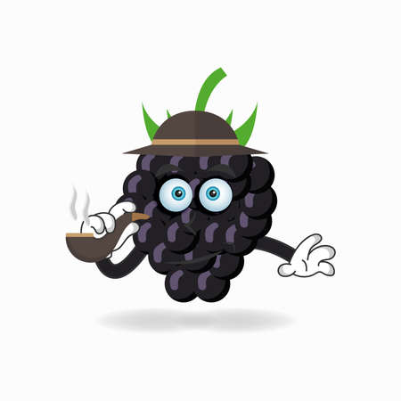 Grape mascot character smoking. vector illustration