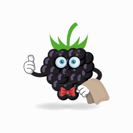 The Grape mascot character becomes waiters. vector illustration Çizim