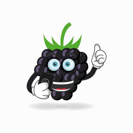 Grape mascot character holding a cellphone. vector illustration Çizim