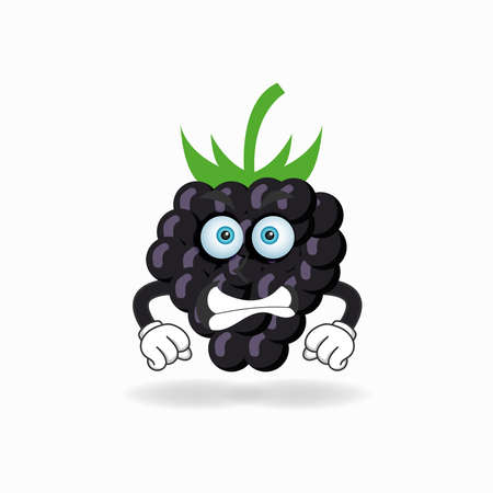 Grape mascot character with angry expression. vector illustration Çizim