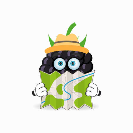 The Grape mascot character holds a map. vector illustration