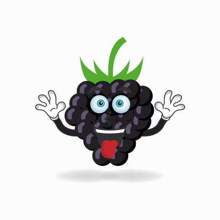 Grape mascot character with laughing expression and sticking tongue. vector illustration Çizim