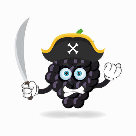The Grape mascot character becomes a pirate. vector illustration Çizim