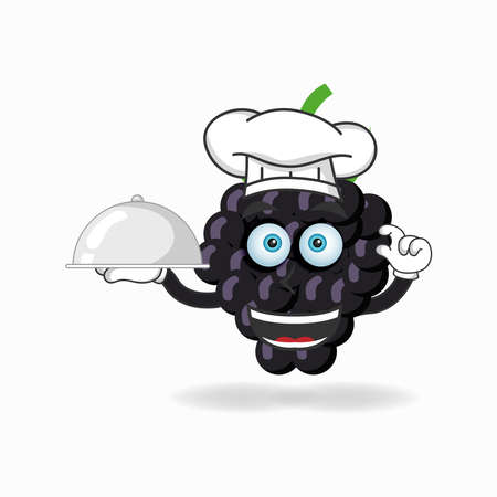 The Grape mascot character becomes a chef. vector illustration