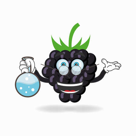 The Grape mascot character becomes a scientist. vector illustration Çizim