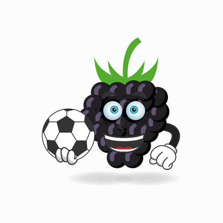 The Grape mascot character becomes a soccer player. vector illustration