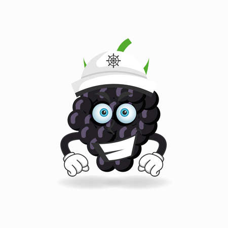 The Grape mascot character becomes a captain. vector illustration Çizim
