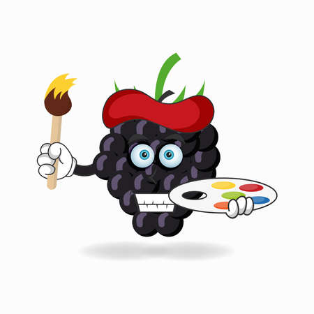 The Grape mascot character becomes a painter. vector illustration Çizim