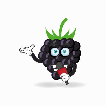 The Grape mascot character becomes a host. vector illustration