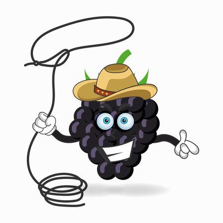 The Grape mascot character becomes a cowboy. vector illustration