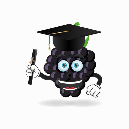 The Grape mascot character becomes a scholar. vector illustration