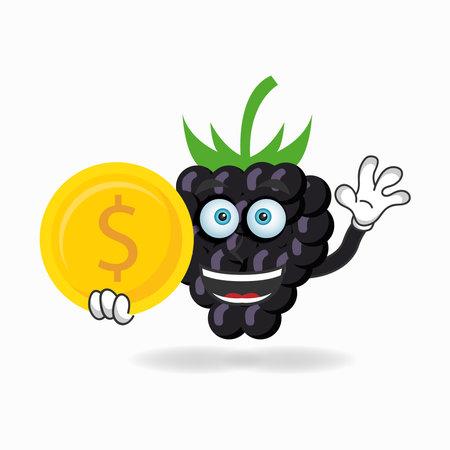 Grape mascot character holding coins. vector illustration Çizim