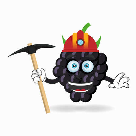 The Grape mascot character becomes a miner. vector illustration