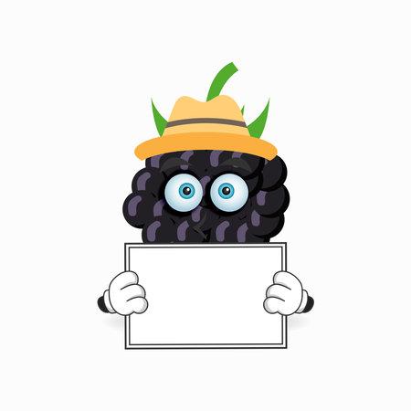 Grape mascot character holding a white blackboard. vector illustration