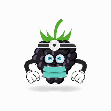 The Grape mascot character becomes a doctor. vector illustration Çizim