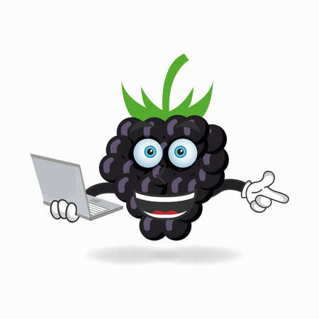 Grape mascot character with laptop in right hand. vector illustration