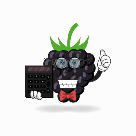 The Grape mascot character becomes an accountant. vector illustration