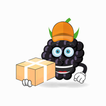The Grape mascot character is a delivery person. vector illustration Çizim