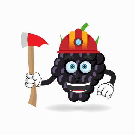 The Grape mascot character becomes a firefighter. vector illustration