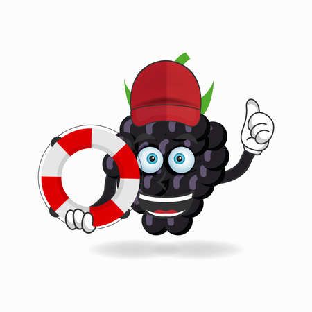 The Grape mascot character becomes a lifeguard. vector illustration